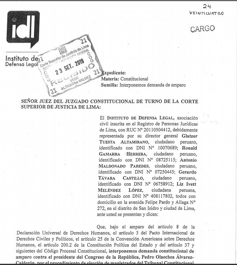 IDL presenta demanda de amparo para que se suspenda elección de TC