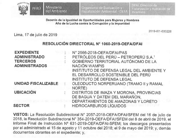 Resolución histórica del OEFA acredita que el derrame de Chiriaco y Morona afectó a las comunidades nativas awajun y wampis