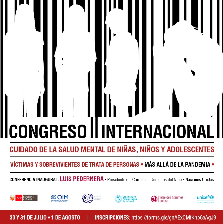"""Inscripciones al Congreso Internacional """"Cuidado de salud mental de niñas, niños y adolescentes víctimas y sobrevivientes de trata de personas"""""""